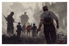 With his retro-futuristic illustrations, the artist Jakub Rozalski, aka Mr. Werewolf, imagines a dark and scary past, populated by war machines and giant robot Arte Sci Fi, Sci Fi Art, Steampunk, Samurai, Rpg Map, Alternate History, Dieselpunk, Oeuvre D'art, Science Fiction