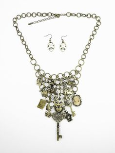 Trinket Necklace and Earrings in Antique Gold - $28.00 : FashionCupcake, Designer Clothing, Accessories, and Gifts