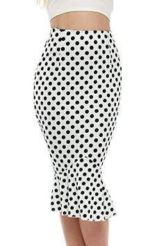 Phyllisoo Womens Mermaid Skirt High Waist Fishtail Hem Plain Bodycon Pencil Skirts White XXLarge -- See this great product.