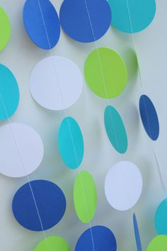 Whale Baby Shower, Paper Garland Decor - 5 Feet Long- baby boy, first birthday