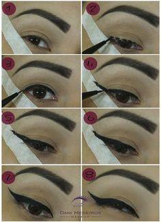 Como fazer Delineado Gatinho - para ficar perfeito! Com fita! Maquiagem  Linda, Maquiagem 54884e1e7a