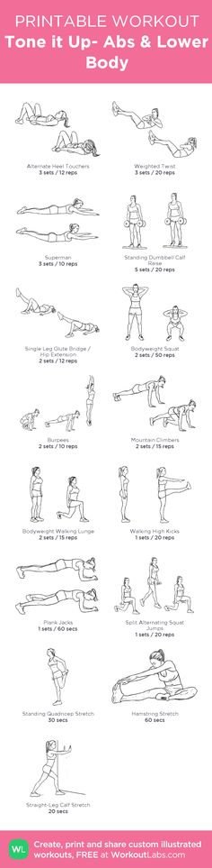 Tone it Up- Abs & Lower Body : my custom workout. once a week before an easy run day.