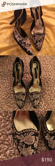 beverly feldman embroidery heels Beautiful heels only worn once. In great like new condition Beverly Feldman Shoes