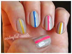 grey + neon stripe. models own nail art pens.