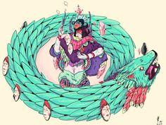 brujas by piñatha , via Behance Art And Illustration, Magazine Art, Tattoo You, Studio Ghibli, Comic Art, Rooster, Beast, Digital Art, Doodles