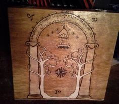 wood burned cigar box. The gates of Moria from Lord of the Rings.