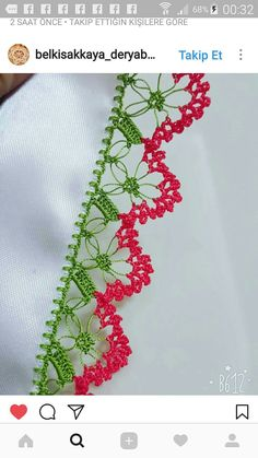 This Pin was discovered by HUZ Crochet Edging Patterns, Crochet Borders, Baby Knitting Patterns, Knitting Stitches, Crochet Designs, Embroidery Stitches, Crochet Flowers, Crochet Lace, Pink Flowers