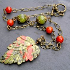 Unakite Leaf Necklace, Fall Jewelry, Leaf Jewelry, Stone Jewelry, Unakite Jewelry, Autumn Fashion, Carved Stone Leaf/ this is totally different I love it.