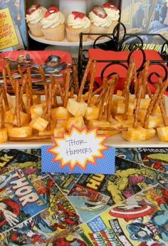 Thor hammers at a Superheroes Birthday Party!  See more party planning ideas at CatchMyParty.com!