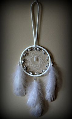 3'' White Dream Catcher with silver and by DreamySummerNights, $6.00