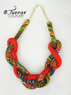 Chunky African Fabric Knotted Necklace  Ankara by ETurnerCouture