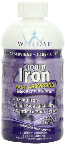 WELLESSE Liquid Mineral Supplement, Iron, Natural Berry,  16 Ounce //Price: $8.99 & FREE Shipping //     #hashtag1