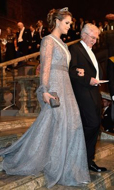 Glamorous Madeleine topped her icy blue gown with a stunning tiara at the Nobel Prize Banquet in 2015.<br><p>Photo: © Getty Images</p>