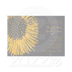 Yellow and Grey Abstract Floral Wedding Invitation from Zazzle.com