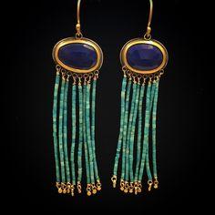 "378 Beğenme, 16 Yorum - Instagram'da Ananda Khalsa (@anandakhalsajewelry): ""This pair has a lot of personality! #lapis #turquoise #22kgold #cjdgjewelers #anandakhalsajewelry"""