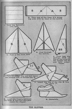How to fold an Elf Shoe napkin fold