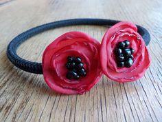 CUSTOMIZED Red Poppy Flower Bangle with Black by FairytaleFlower