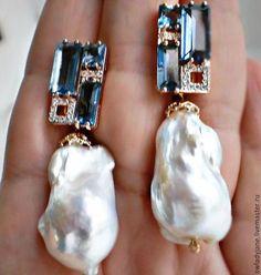 Diamond Jewelry Aquamarine, diamonds, rubies n baroque pearls Ruby Earrings, Gemstone Earrings, Diamond Earrings, Silver Earrings, Modern Jewelry, Fine Jewelry, Fashion Earrings, Fashion Jewelry, Baroque Pearls