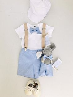 Baby boys outfit with blue bowtie, matching shorts/pants and tan children's suspenders and optional matching bunny, shoes, cap Baby Boy Baptism Outfit, Baby Boy Outfits, Cute Outfits For Kids, Cool Outfits, New Baby Girl Quotes, Chino Style Pants, Suspenders For Boys, Holiday Outfits, Kids Fashion