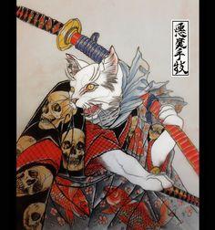 Kuniyoshi Neko. by LewisBuckleyArt