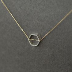 Honeycomb Necklace Sterling Silver Hexagon Mixed Metal Gold Filled Chain Geometric Slide Geometry Jewelry
