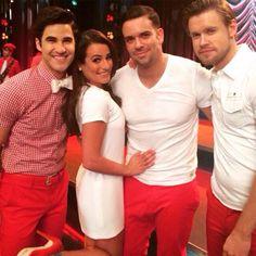 Lea Michele, Darren Criss, Mark Salling and Chord Overstreet on set