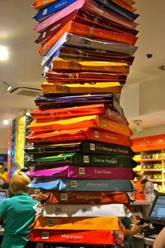 A TOWER completely made out of Ritter Sport chocolate. | 28 Of The Most German Things To Ever Happen
