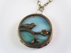 Teal Bird Necklace  Stained Glass Bird Jewelry by Tocasol on Etsy, €15.00
