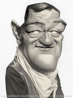John Wayne caricature by Thierry Coquelet Cartoon Faces, Funny Faces, Cartoon Art, Caricature Artist, Caricature Drawing, Drawing Art, Funny Caricatures, Celebrity Caricatures, Celebrity Drawings