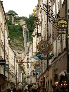 Salzburg, Austria - Love seeing places on Pinterest that I have actually been to. Had dinner at an amazing Italian restaurant on this street!!!