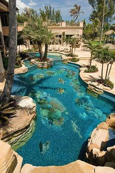 Swimming Pool at Oceanfront Mega Mansion In North Palm Beach, FL « Homes of the Rich. Luxury Swimming Pools, Luxury Pools, Dream Pools, Swimming Pool Designs, Swimming Ponds, Beautiful Pools, Beautiful Places, North Palm Beach, South Beach