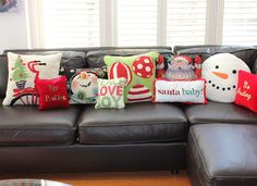 Christmas pillows...love the snowman!