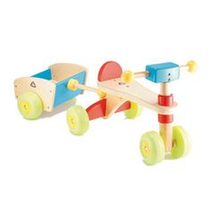 $84.99 - The Trike n Trailer is a sturdy wooden trike with a trailer to fill with toys. The little ones love this unique toy. It is not just a trike. It is not just a trailer. It is two toys in one. Great for both indoors and out. Dimensions are 14x33x14.Like Ride-Ons? See ?em all here!