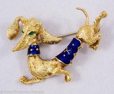 Uno A Erre Italy 18K Gold Enamel Dachshund Dog Pin Brooch | eBay