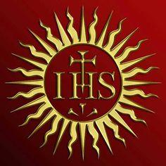 Society of Jesus - Jesuits - Christogram IHS… Altar, Transfiguration Of Jesus, Divine Mercy Sunday, Society Of Jesus, Chi Rho, Pope John Paul Ii, Religious Images, Son Of God, Names Of Jesus