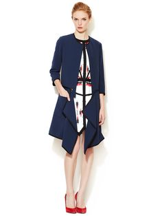 Contrast Trim Twill Jacket by ICB at Gilt