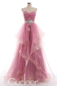 Rose Tulle Strapless Sweetheart Cascaded Long Prom Dress