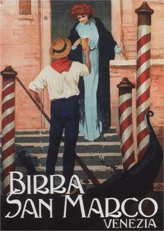 Vintage Italian Posters ~ #illustrator #Italian #posters ~ Birra San Marco Venezia