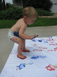 Toddlers sheet painting! So doing this when it gets warmer! - Heart-2-Home