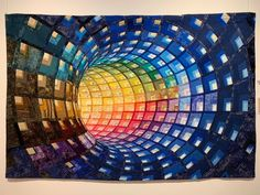 A Log Cabin Quilt Like Ricky Has Never Seen Before 2019 Azul de colores el tubo by Montse Forcadell Blasco The post A Log Cabin Quilt Like Ricky Has Never Seen Before 2019 appeared first on Quilt Decor. Bargello Quilt Patterns, Bargello Quilts, 3d Quilts, Modern Quilt Patterns, Quilt Block Patterns, Modern Quilting Designs, Patchwork Patterns, Quilt Designs, Log Cabin Quilt Pattern