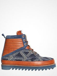 Volta Washed Leather Boots With Wool Inserts