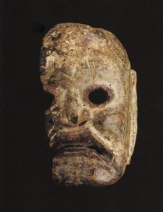 Mask fragment, Monpa/Sherdukpen tribes.East Bhutan/Arunachal Pradesh border area. 12 - 15 th C. H: 8.5 in.. Wood and pigment. Spirit figure resembling Japanese Noh masks of this period, to which there is a shared cultural impulse.
