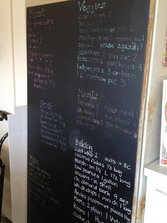 Chalkboard painted a rusty freezer. This way I can easily keep track of what I have inside. White chalk definitely worked the best.