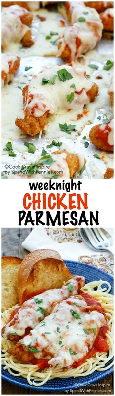 This Weeknight Chicken Parmesan is a delicious weeknight meal ready in under 30 minutes! Tender chicken topped with tomato sauce, herbs & cheese, this is a family favorite!