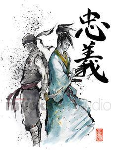 Ninja and Samurai with Japanese calligraphy Loyalty 8x10 Print by Mycks