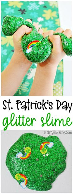 St. Patrick's Day rainbow glitter slime! A fun recipe for the kids to make. Makes for a great st patricks day activity for kids.