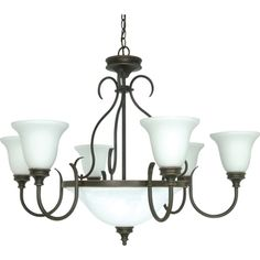 $119.99 Nuvo 'Bistro' 9-light Rustic Bronze Chandelier | Overstock.com - The Bistro 9-light chandelier offers a relaxed country charm. The rustic bronze finish features hand painted details of dark gold which contrast against the satin white glass shades.  @overstock.com