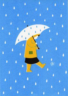 Walking in the rain with umbrella, rain coat, and wellies.