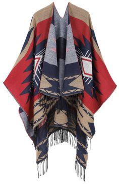 Andorra Women's Vintage Merino Wool Kimono Wrap - Khaki