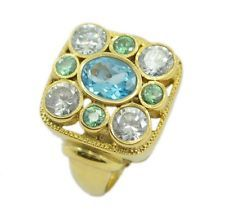 beauteous Multi Gold Plated Multi-Colour Ring jewelry US 6789